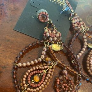 Francesca's Collections Jewelry - Francesca's Brown & Gold large beaded earrings